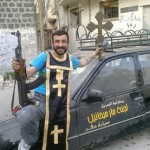 A Syrian rebel brandishes a looted cross in stolen vestments