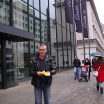 Christian Voice National Director Stephen Green handing out leaflets outside Coutts Bank HQ on Friday 26th October.  Coutts condemned Stonewall's 'bigot' award the next workig day.