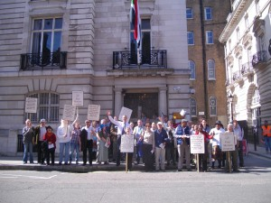 Christians from the UK outside the Sudanese Embassy in London on Friday 6th June 2014