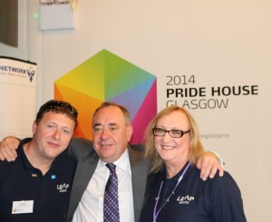 Alex Salmond at 'Pride House'. The homosexual 'Rainbow' flag flew over St Andrew's House during the Commonwealth Games 2014.
