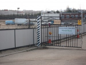 THe Entrance to the site of the proposed West Ham 'mega mosque'.