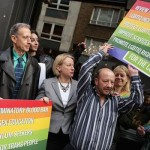 Natalie Bennett launching the GreenParty's 'LGBTIQ' manifesto in Soho with Peter Tatchell (l)