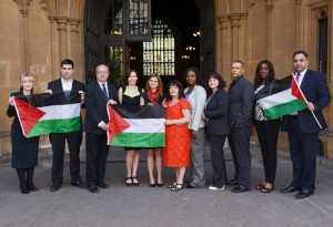 Jo Cox, fifth from left, with other pro-Palestinian, anti-Israel Labour MPs at the House of Commons.