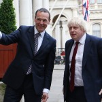Permanent Under-Secretary Simon McDonald welcomes Boris Johnson to the Foreign Office last night.
