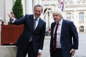 Permanent Under-Secretary Simon McDonald welcomes Boris Johnson to the Foreign Office.