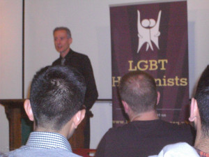 Peter Tatchell addressing LGBT Humanists at the Conway Hall