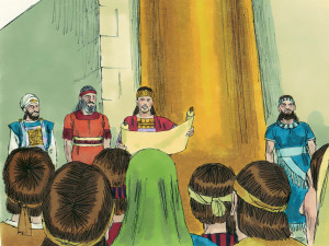 King Josiah reads the rediscovered law of God to the people (Image from freebibleimages.org)