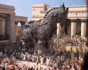 The Trojans drew the Greek gift of a wooden horse into their city, but Greek soldiers were hidden inside. (From the film 'Troy')