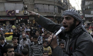 An Islamic State militant urging people to fight against Assad in Aleppo