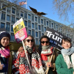 Anti-Trump women outside the US Embassy in London.  But where are the placards from?