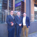 Michael Stockwell, Adrian Clark and Michael Overd in front of Bristol Magistrates Court