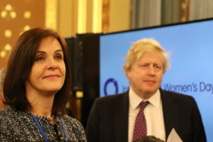 Joanna Roper with 'enthusiastic Boris Johnson