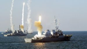 US destroyers launch a missile strike