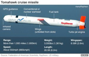 Tomahawk missile. What the BBC graphic does not say is 'Cost $250,000'. The attack cost the US Defense Department $14,750,000. Shares in Raytheon jumped 1.7% after the missile strike.