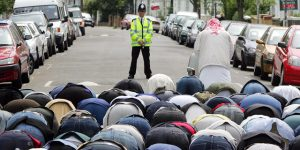Muslims at prayer - in the street