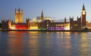 Rainbow-coloured Houses of Parliament - sort of.