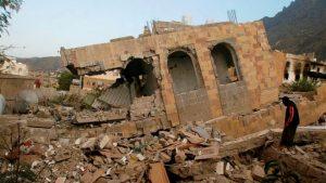 A home ruined in Taiz, Yemen