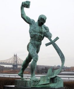 Yevgeny Vuchetich's call for peace: Let Us Beat Swords into Plowshares, sculpture, 1957