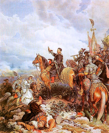 King John III Sobieski blessing the succesful Polish attack on the Ottomans in the Battle of Vienna – Juliusz Kossak painting