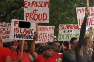 Homosexuals and a few ex-Muslims carry banners insulting Islam in the London Gay Pride Parade prompting cries of Islamophobia