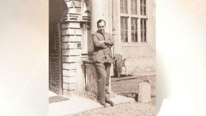 Robert Wyndham Ketton-Cremer outside Felbrigg Hall, which he bequeathed to the National Trust.