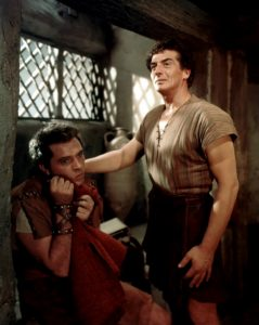 Richard Burton as Marcellus the Centurion and Victor Mature as his servant Demetrius over-acting in the perceptive 1953 film 'The Robe'