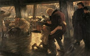 Tissot's 19th-century representation of the son's homecoming does not quite capture the father running to the son.