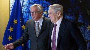 George Soros getting on well with Jean-Claude Juncker, President of the European Commission