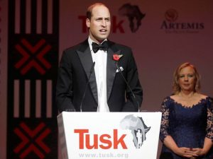 Prince WIlliam speaking at the Tusk dinner. Yes, that is entrepreneur Deborah Meaden in the background.
