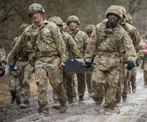 Soldiers from 5th Battalion The Rifles, Headquarters take part in a Military March and Shoot.