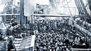 Freed slaves aboard HMS Daphne - but The National Archive pretended the British were trading them.