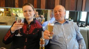 Sergei Skripal and his daughter Yulia in a restaurant minutes before they were found slumped on a bench, supposedly infected by nerve gas.