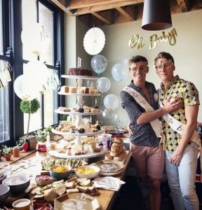 Tom Daley (Left) and Dustin Lance Black (right) held a 'baby shower' party last weekend.