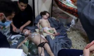 Douma - images show plenty of children, precious few concerned parents.