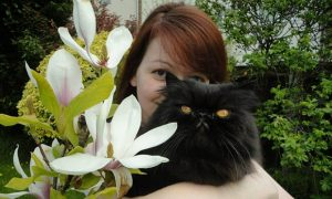 Yulia Skripal with one of the incinerated pets, the late Persian cat Nash Van Drake