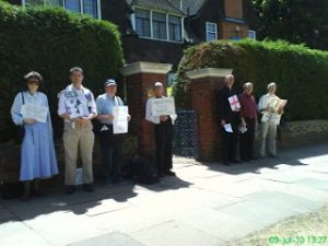Peaceful pro-lifers witness outside the Marie Stopes abortion facility before being banned by  Ealing Council.