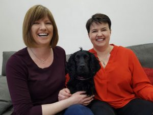 Ruth Davison and Jen Wilson with their dog. Pet-owning is apparently much higher amongst lesbians than the general population.
