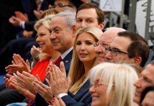 Ivanka Trump and Jared Kushner sit alongside Benjamin Netanyahu