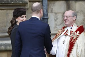 The Dean of Windsor David Conner greets the Duke and Duchess of Cambridge at an earlier Matins Service at St George's Chapel