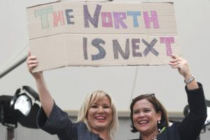 Sinn Féin's Michelle O'Neill and Mary Lou McDonald celebrate the result of the abortion referendum in Dublin by calling for abortion in Ulster. Photograph: Reuters