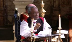 Bishop Michael Curry makes a point in an impassioned sermon
