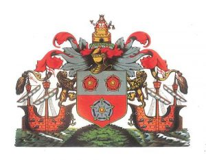 The Southampton Coat of Arms is surmounted by a figure of justice.