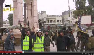 Syrian White Helmets (left) captured on YouTube celebrating with Al Qaeda jihadists (right)