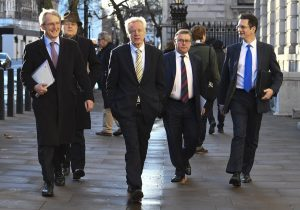 Brexiteers Owen Patterson, Iain Duncan-Smith, David Davids, Mark Francois and Steve Baker off to see Mrs May earlier today.