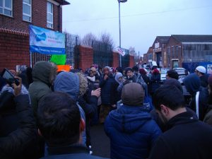 Around 200 parents gathered in front of Parkfield school.