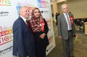 Councillors Mohammed Idrees (right) and Mariam Khan (centre)