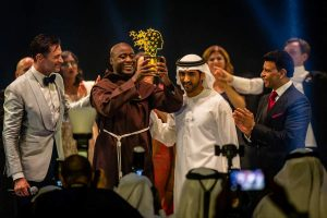 Brother Peter Tabichi accepts the Global Teacher Prize from His Highness Sheikh Mohammed bin Rashid Al Maktoum