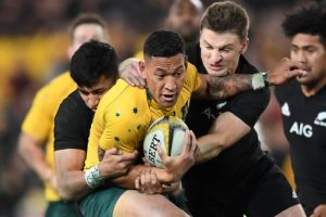 It takes two New Zealand All Blacks to bring down Israel Folau