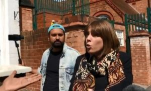 Jess Phillips arguing for 'equality' outside Anderton Park School