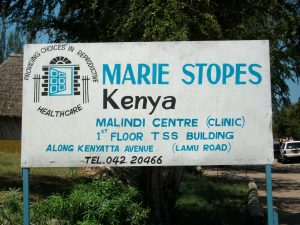 Marie Stopes Kenya - Clinic in Malindi. MSK stays open in Kenya by pretending they only offer contraception and post-abortion care. Marie Stopes abortion clinics operate openly all over Kenya.